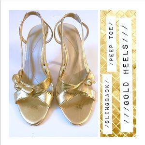 Super Fab Gold Peep Toe Bow Heel! Size 7